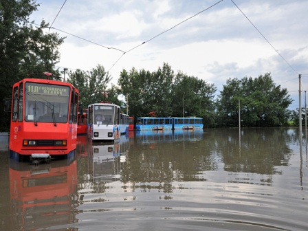 trams flooded