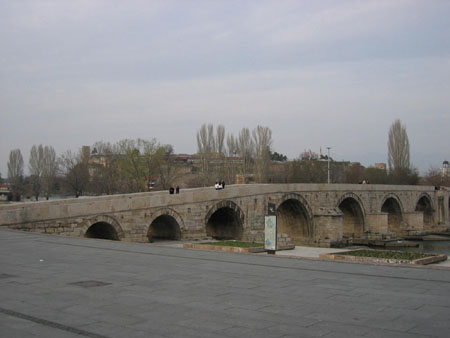 stone bridge separating Albanian and Orthodox part